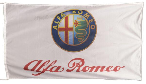 Flag  Alfa Romeo Landscape White Flag / Banner 5 X 3 Ft (150 x 90 cm) Alfa Romeo