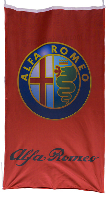 Flag  Alfa Romeo Vertical Red 3D Flag / Banner 5 X 3 Ft (150 x 90 cm) Alfa Romeo