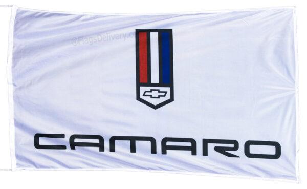 Flag  Chevrolet Camaro Landscape White Flag / Banner 5 X 3 Ft (150 x 90 cm) Automotive Flags
