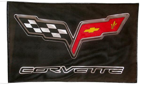 Flag  Chevrolet Corvette C6 Landscape Black Flag / Banner 5 X 3 Ft (150 x 90 cm) Automotive Flags