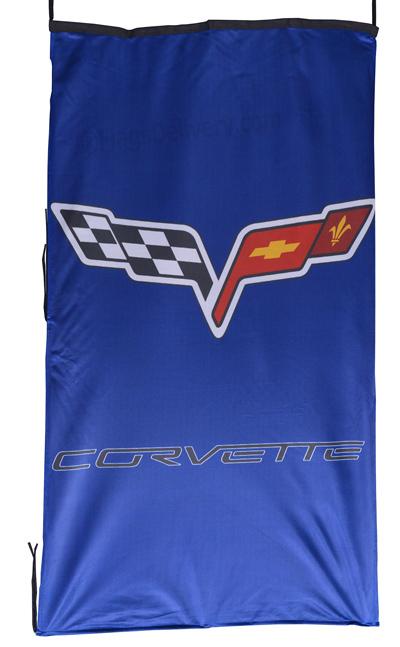 Flag  Chevrolet Corvette C6 Vertical Blue Flag / Banner 5 X 3 Ft (150 x 90 cm) Automotive Flags