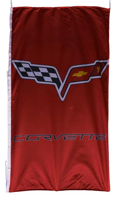 Flag  Chevrolet Corvette C6 Vertical Red Flag / Banner 5 X 3 Ft (150 x 90 cm) Automotive Flags