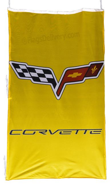 Flag  Chevrolet Corvette C6 Vertical Yellow Flag / Banner 5 X 3 Ft (150 x 90 cm) Automotive Flags