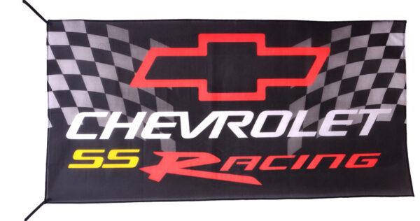 Flag  Chevrolet SS Racing Landscape Black Flag / Banner 5 X 3 Ft (150 x 90 cm) Automotive Flags
