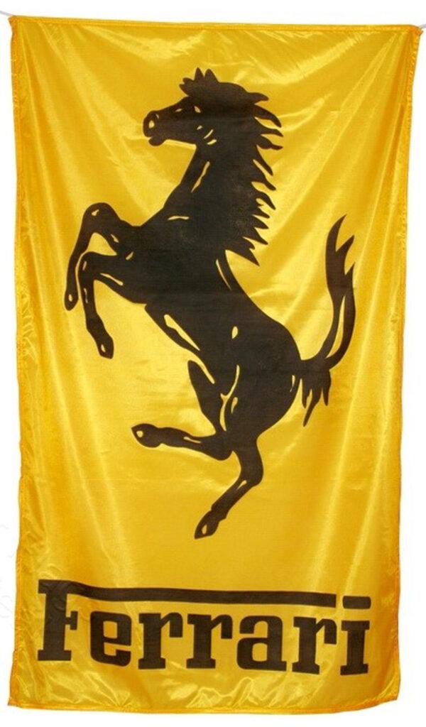 Flag  Ferrari Vertical Golden Flag / Banner 5 X 3 Ft (150 x 90 cm) Automotive Flags