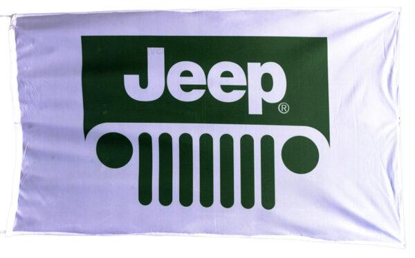 Flag  Jeep Landscape White Flag / Banner 5 X 3 Ft (150 x 90 cm) Automotive Flags