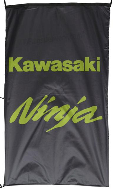 Flag  Kawasaki Ninja Vertical Black Flag / Banner 5 X 3 Ft (150 x 90 cm) Kawasaki