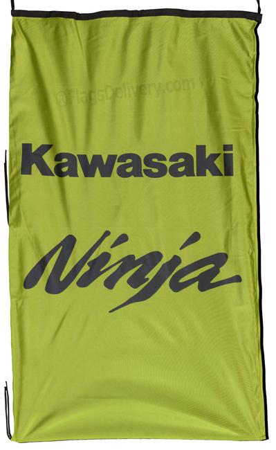 Flag  Kawasaki Ninja Vertical Green Flag / Banner 5 X 3 Ft (150 x 90 cm) Kawasaki