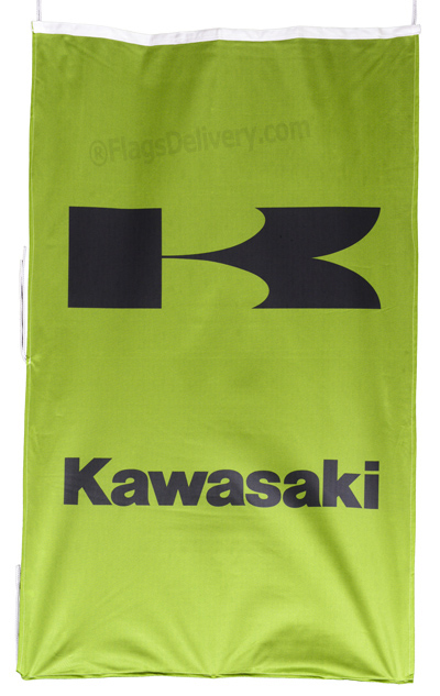 Flag  Kawasaki Vertical Green Flag / Banner 5 X 3 Ft (150 x 90 cm) Motorcycle Flags