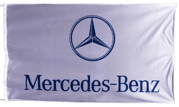 Flag  Mercedes Benz Landscape White Flag / Banner 5 X 3 Ft (150 x 90 cm) Automotive Flags