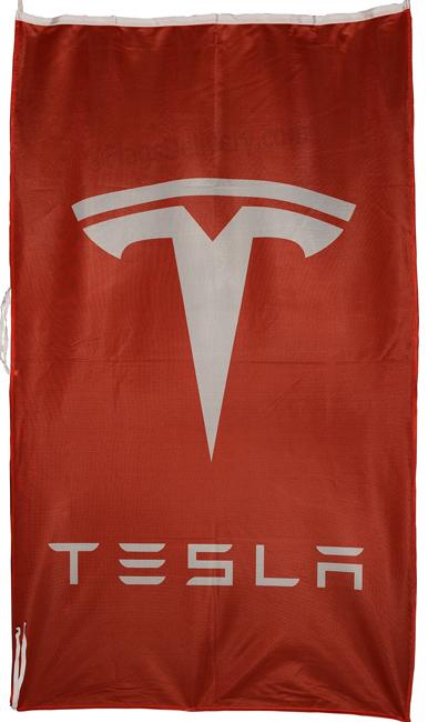 Flag  Tesla Vertical Red Flag / Banner 5 X 3 Ft (150 x 90 cm) Automotive Flags