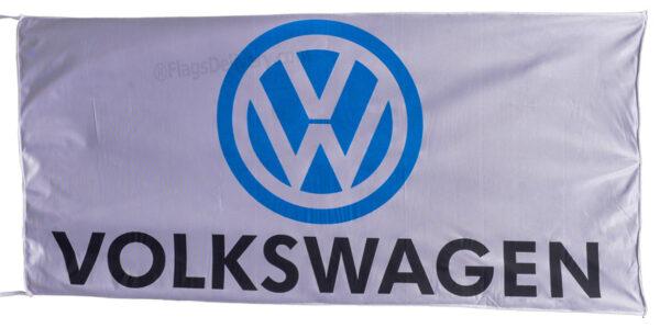 Flag  Volkswagen Landscape White Flag / Banner 5 X 3 Ft (150 x 90 cm) Automotive Flags