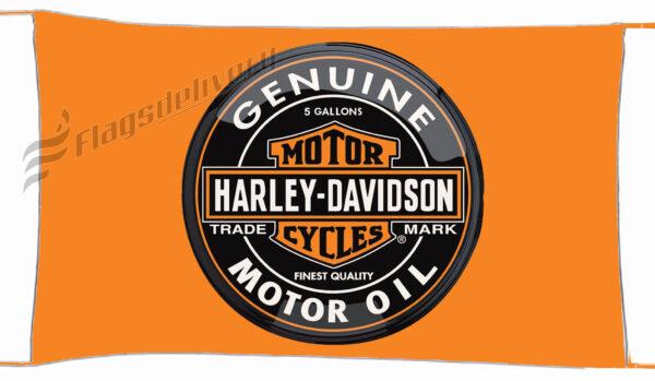 Flag  Harley Davidson Motor Oil Orange Landscape Flag / Banner 5 X 3 Ft (150 X 90 Cm) Harley Davidson