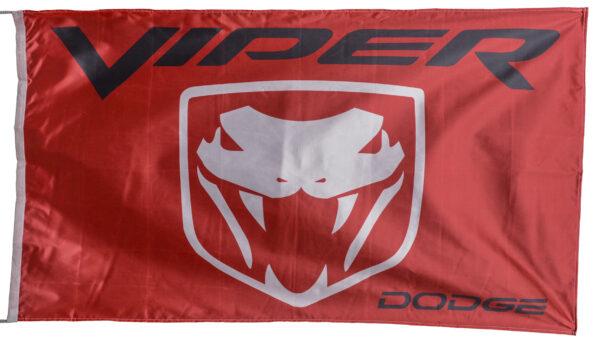 Flag  Dodge Viper Red Landscape Black Flag / Banner 5 X 3 Ft (150 x 90 cm) Automotive Flags