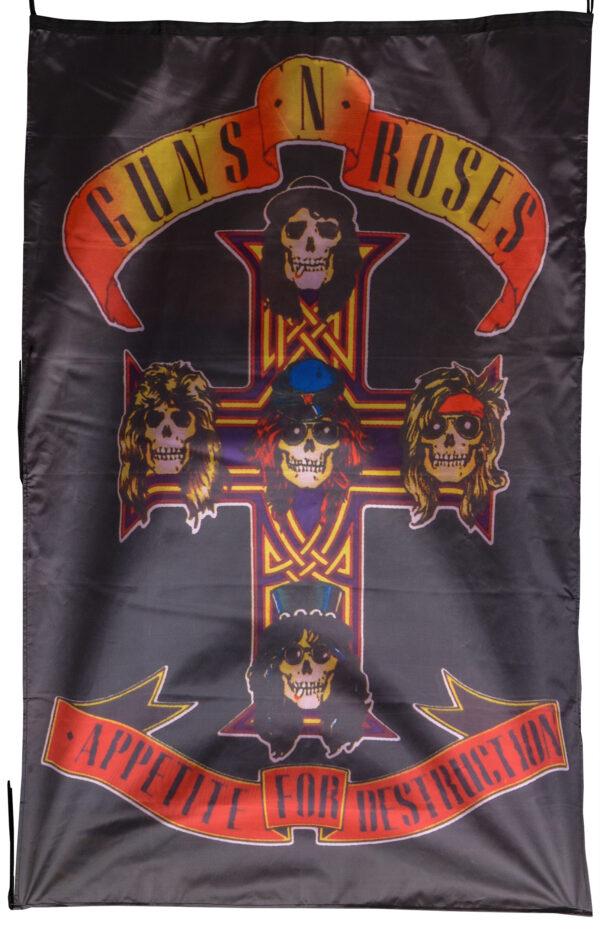 """Flag  Guns N Roses """"Appetite For Destruction"""" Vertical Flag / Banner 5 X 3 Ft (150 x 90 cm) Music Flags"""