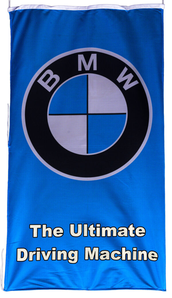 Flag  BMW The Ultimate Driving Machine Vertical Blue / White Letters Flag / Banner 5 X 3 Ft (150 x 90 cm) Automotive Flags