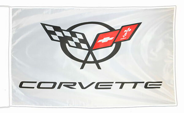 Flag  Chevrolet Corvette C5 Landscape White Flag / Banner 5 X 3 Ft (150 x 90 cm) Automotive Flags