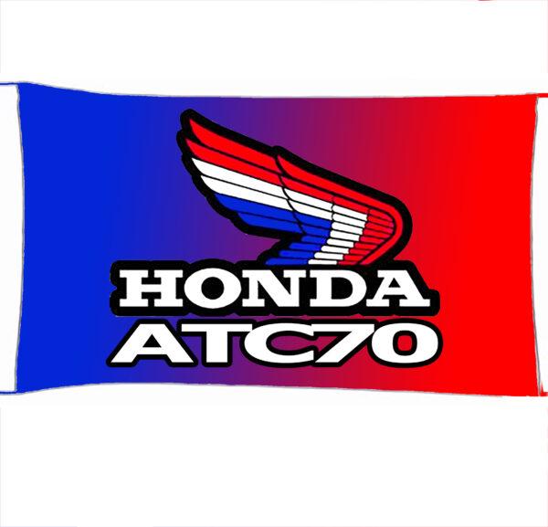 Flag  Honda ATC 70 Landscape Blue & Red Flag / Banner 5 X 3 Ft (150 x 90 cm) Automotive Flags