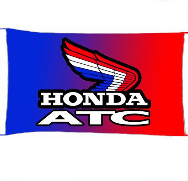 Flag  Honda ATC Landscape Blue & Red Flag / Banner 5 X 3 Ft (150 x 90 cm) Automotive Flags
