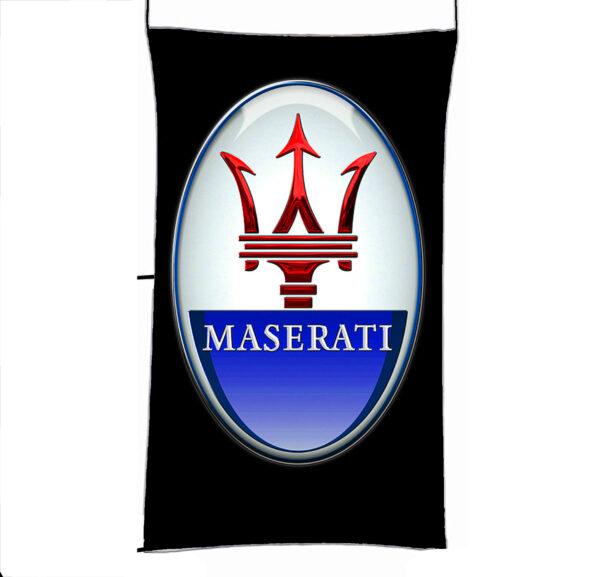 Flag  Maserati 3D Black Vertical Flag / Banner 5 X 3 Ft (150 X 90 Cm) Automotive Flags