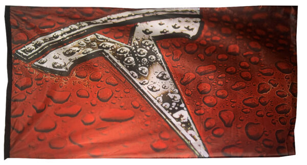 Flag  Tesla 3D Landscape Red Flag / Banner 5 X 3 Ft (150 x 90 cm) Automotive Flags