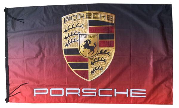 Flag  Porsche Landscape Black & Red Flag / Banner 5 X 3 Ft (150 x 90 cm) Automotive Flags