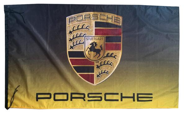 Flag  Porsche Landscape Black & Yellow Flag / Banner 5 X 3 Ft (150 x 90 cm) Automotive Flags