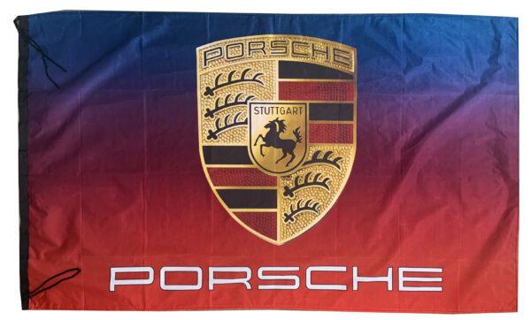 Flag  Porsche Landscape Blue & Red Flag / Banner 5 X 3 Ft (150 x 90 cm) Automotive Flags