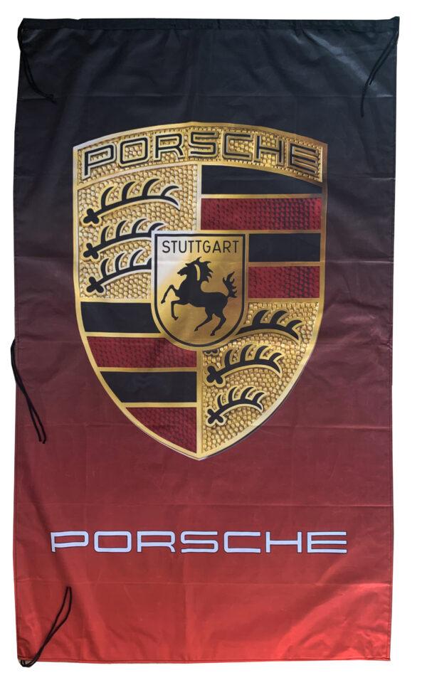 Flag  Porsche Vertical Black & Red Flag / Banner 5 X 3 Ft (150 x 90 cm) Automotive Flags