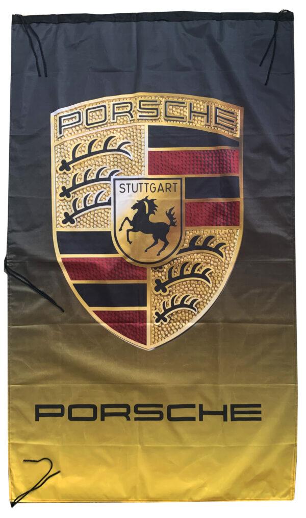 Flag  Porsche Vertical Black & Yellow Flag / Banner 5 X 3 Ft (150 x 90 cm) Automotive Flags